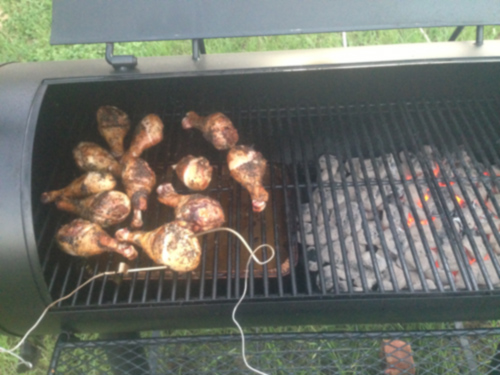 Barbecuing chicken legs